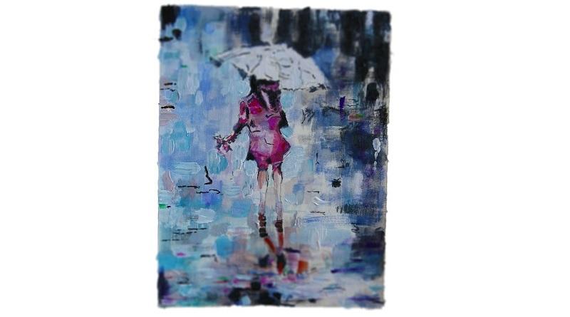 Frau im Regen in Gouache und Acryl (c) Andreas Erber