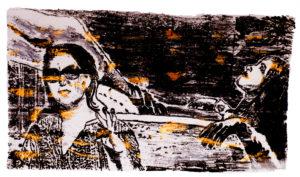 Eine Monotypie mit schwarzem, beigem und orangem Ölpastell gedruckt. Es zeigt eine jüngere Frau mit schwarzen Haaren und Sonnenbrille und ein andere Frau, die in einem Sessel liegt, die Beine auf der Rückenlehne. (c) Andreas Erber